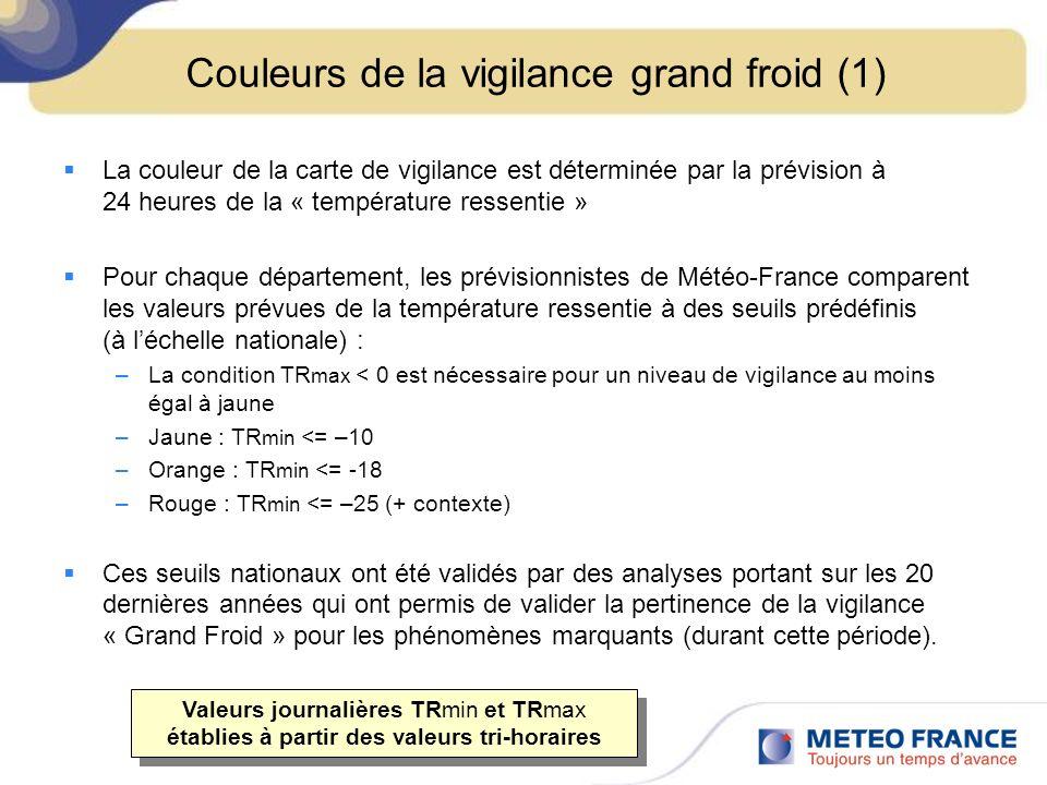 Couleurs de la vigilance grand froid (1) La couleur de la carte de vigilance est déterminée par la prévision à 24 heures de la « température ressentie » Pour chaque département, les prévisionnistes de Météo-France comparent les valeurs prévues de la température ressentie à des seuils prédéfinis (à léchelle nationale) : –La condition TR max < 0 est nécessaire pour un niveau de vigilance au moins égal à jaune –Jaune : TR min <= –10 –Orange : TR min <= -18 –Rouge : TR min <= –25 (+ contexte) Ces seuils nationaux ont été validés par des analyses portant sur les 20 dernières années qui ont permis de valider la pertinence de la vigilance « Grand Froid » pour les phénomènes marquants (durant cette période).