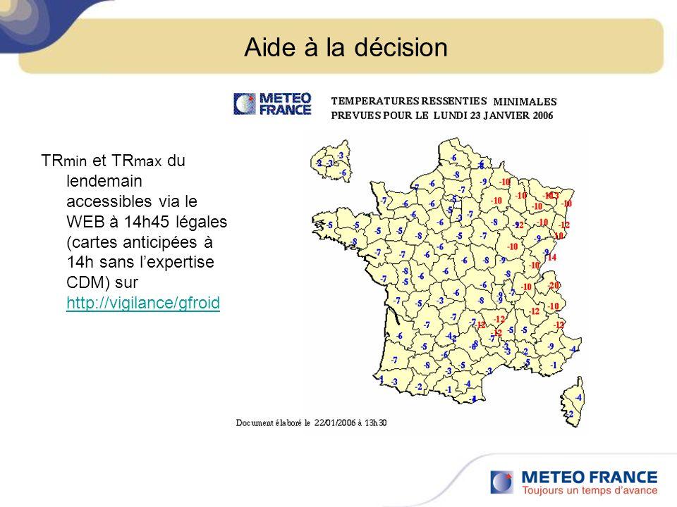 Aide à la décision TR min et TR max du lendemain accessibles via le WEB à 14h45 légales (cartes anticipées à 14h sans lexpertise CDM) sur http://vigilance/gfroid http://vigilance/gfroid