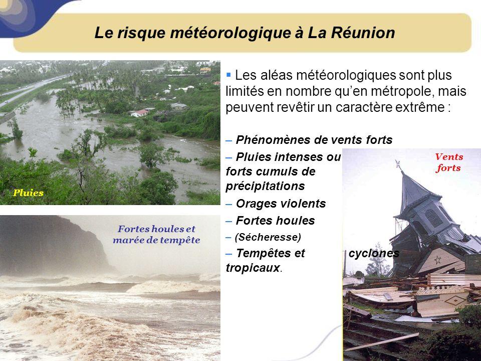 Le risque météorologique à La Réunion Fortes houles et marée de tempête Vents forts Pluies – Phénomènes de vents forts – Pluies intenses ou forts cumuls de précipitations – Orages violents – Fortes houles – (Sécheresse) – Tempêtes et cyclones tropicaux.