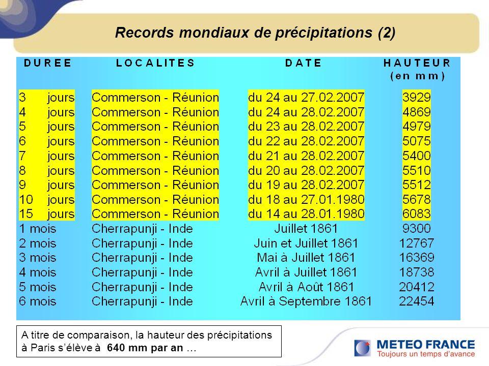 Records mondiaux de précipitations (2)