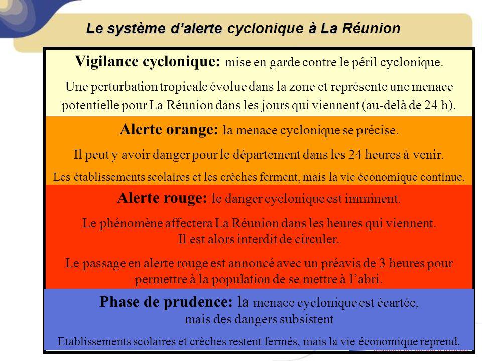 Le système dalerte à La Le système dalerte cyclonique à La Réunion Vigilance cyclonique: mise en garde contre le péril cyclonique.