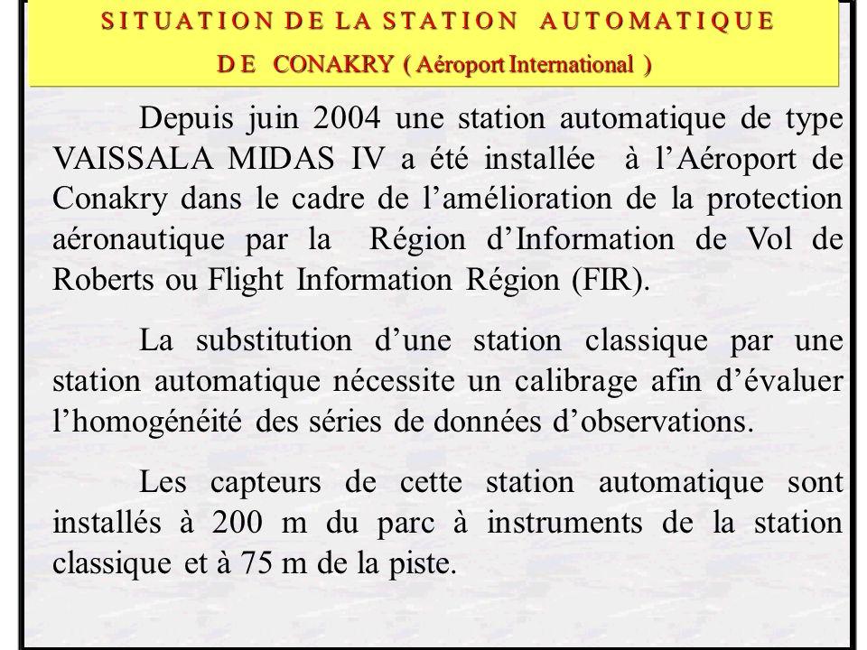 Depuis juin 2004 une station automatique de type VAISSALA MIDAS IV a été installée à lAéroport de Conakry dans le cadre de lamélioration de la protection aéronautique par la Région dInformation de Vol de Roberts ou Flight Information Région (FIR).