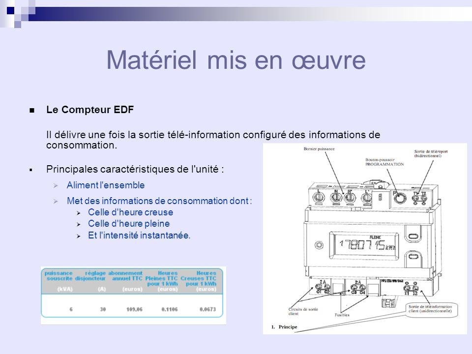 Matériel mis en œuvre Le Compteur EDF Il délivre une fois la sortie télé-information configuré des informations de consommation.
