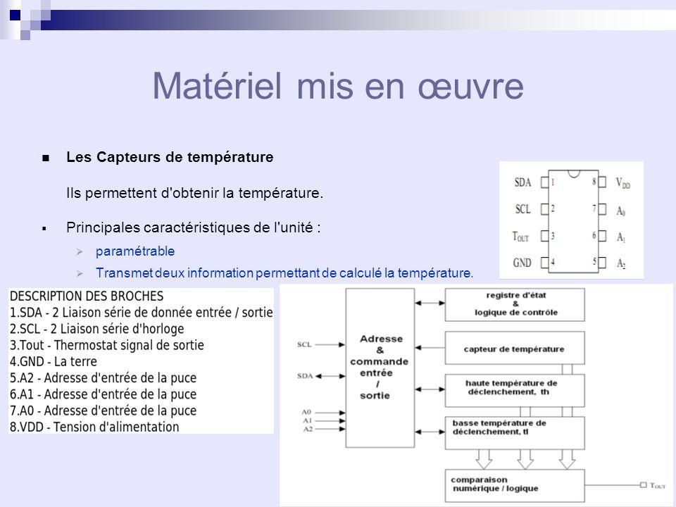 Matériel mis en œuvre Les Capteurs de température Ils permettent d obtenir la température.