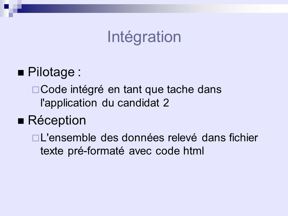 Intégration Pilotage : Code intégré en tant que tache dans l application du candidat 2 Réception L ensemble des données relevé dans fichier texte pré-formaté avec code html