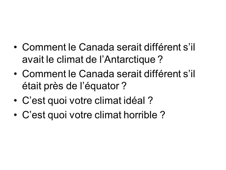 Comment le Canada serait différent sil avait le climat de lAntarctique ? Comment le Canada serait différent sil était près de léquator ? Cest quoi vot