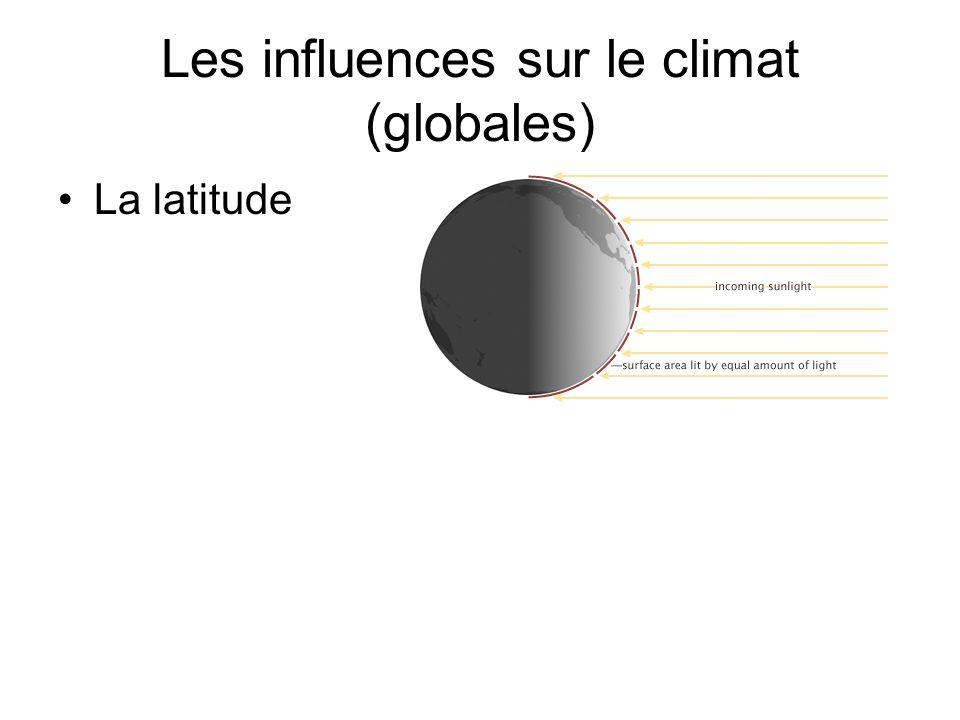 Les influences sur le climat (globales) La latitude