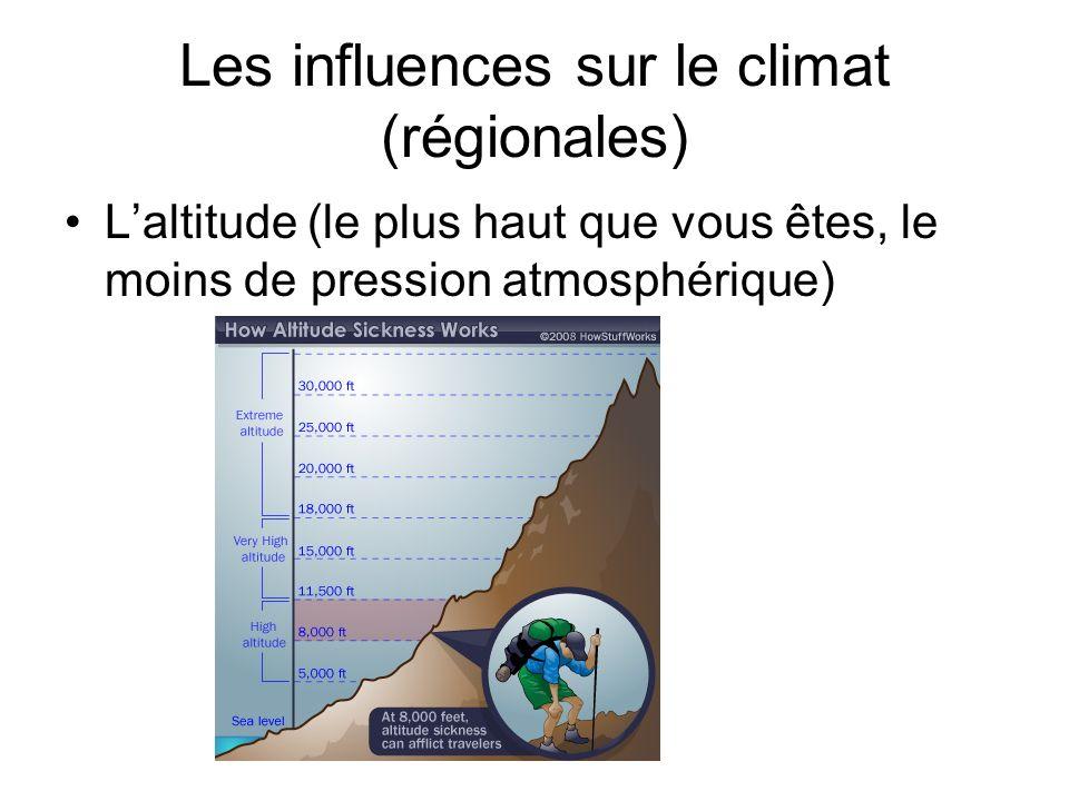 Les influences sur le climat (régionales) Laltitude (le plus haut que vous êtes, le moins de pression atmosphérique)