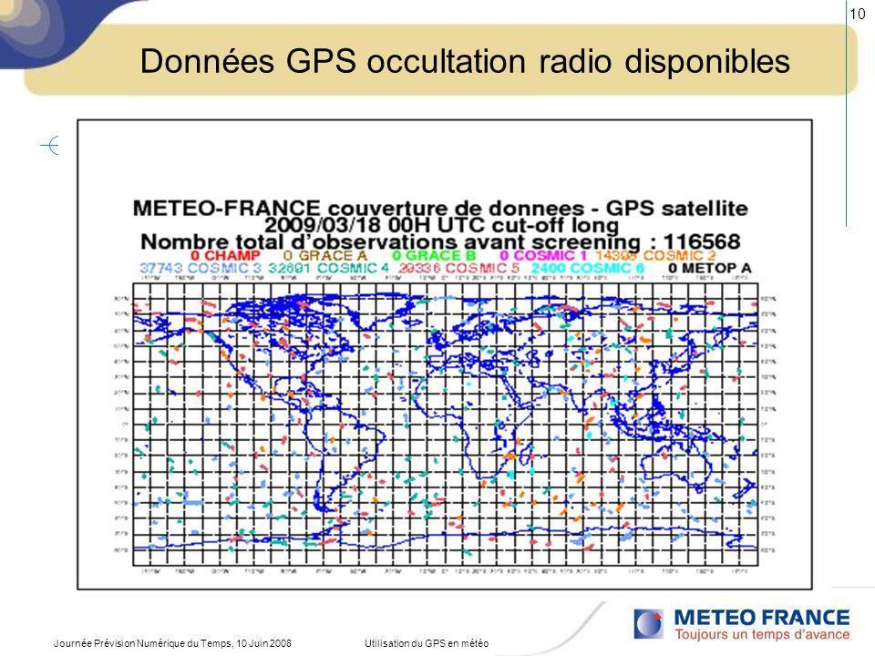 Journée Prévision Numérique du Temps, 10 Juin 2008Utilisation du GPS en météo 10 Données GPS occultation radio disponibles