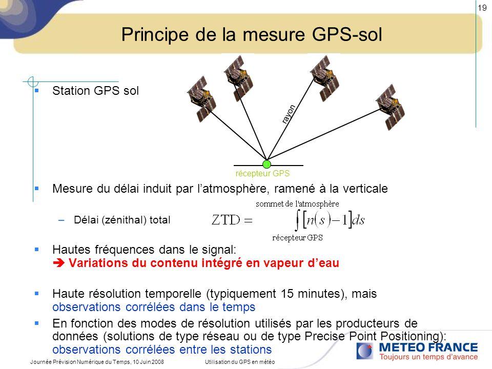 Journée Prévision Numérique du Temps, 10 Juin 2008Utilisation du GPS en météo 19 Principe de la mesure GPS-sol Station GPS sol Mesure du délai induit