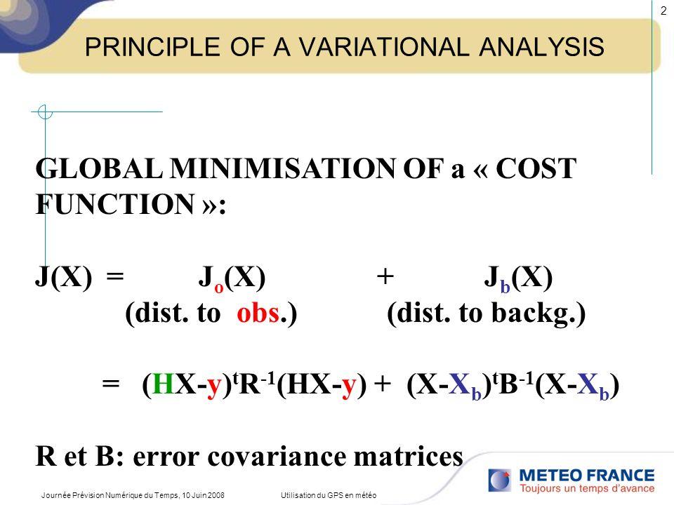 Principe de lassimilation 4D-VAR 9h12h15h Fenêtre dassimilation JbJb JoJo JoJo JoJo obs analyse xaxa xbxb prévision corrigée ancienne prévision