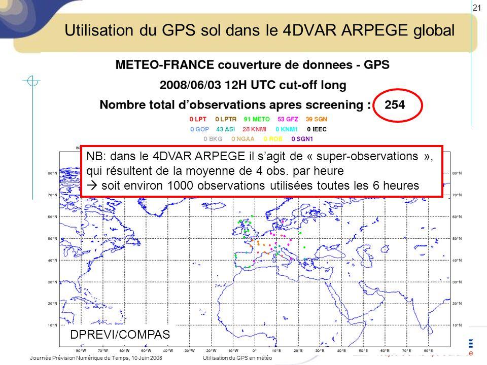 Journée Prévision Numérique du Temps, 10 Juin 2008Utilisation du GPS en météo 22 Utilisation du GPS sol dans le 3DVAR-3h AROME