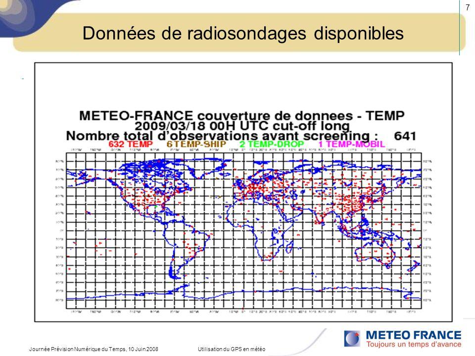 Journée Prévision Numérique du Temps, 10 Juin 2008Utilisation du GPS en météo 7 Données de radiosondages disponibles