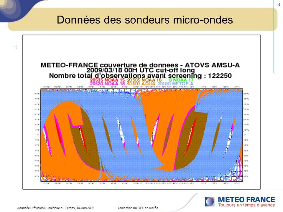 Journée Prévision Numérique du Temps, 10 Juin 2008Utilisation du GPS en météo 9 RESTITUTION DUN PROFIL VERTICAL DE TEMPERATURE 1 2 Z ou p T Radiances(fonctions poids) Transfert radiatif INVERSION R i = B i [T(p 0 )].τ i (p0) – ƒ p B i [T(p)].dτ i (p)