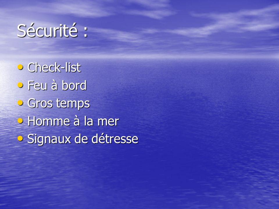 Sécurité : Check-list Check-list Feu à bord Feu à bord Gros temps Gros temps Homme à la mer Homme à la mer Signaux de détresse Signaux de détresse