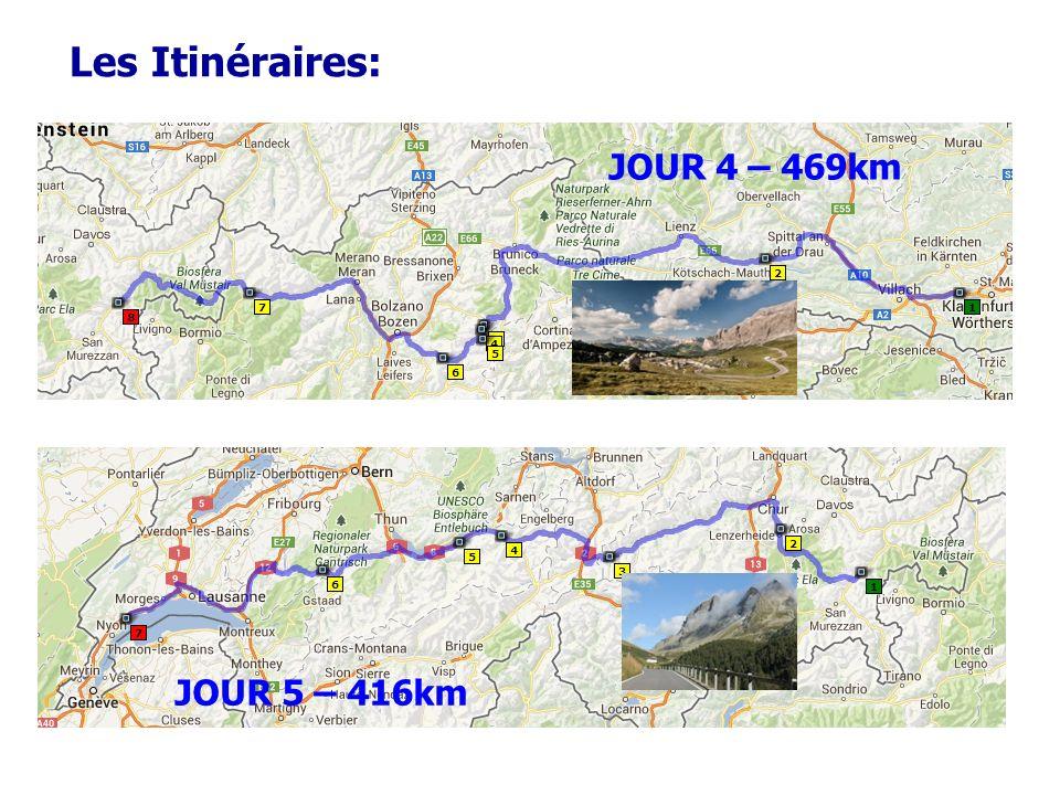 Les Itinéraires: JOUR 4 – 469km JOUR 5 – 416km