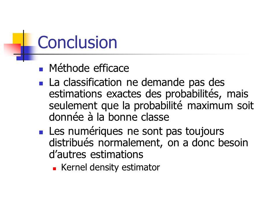 Conclusion Méthode efficace La classification ne demande pas des estimations exactes des probabilités, mais seulement que la probabilité maximum soit donnée à la bonne classe Les numériques ne sont pas toujours distribués normalement, on a donc besoin dautres estimations Kernel density estimator