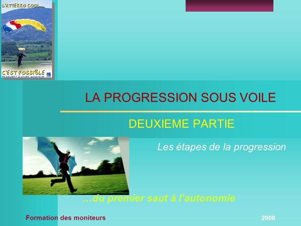 Formation des moniteurs 2008 LA PROGRESSION SOUS VOILE DEUXIEME PARTIE Les étapes de la progression …du premier saut à lautonomie