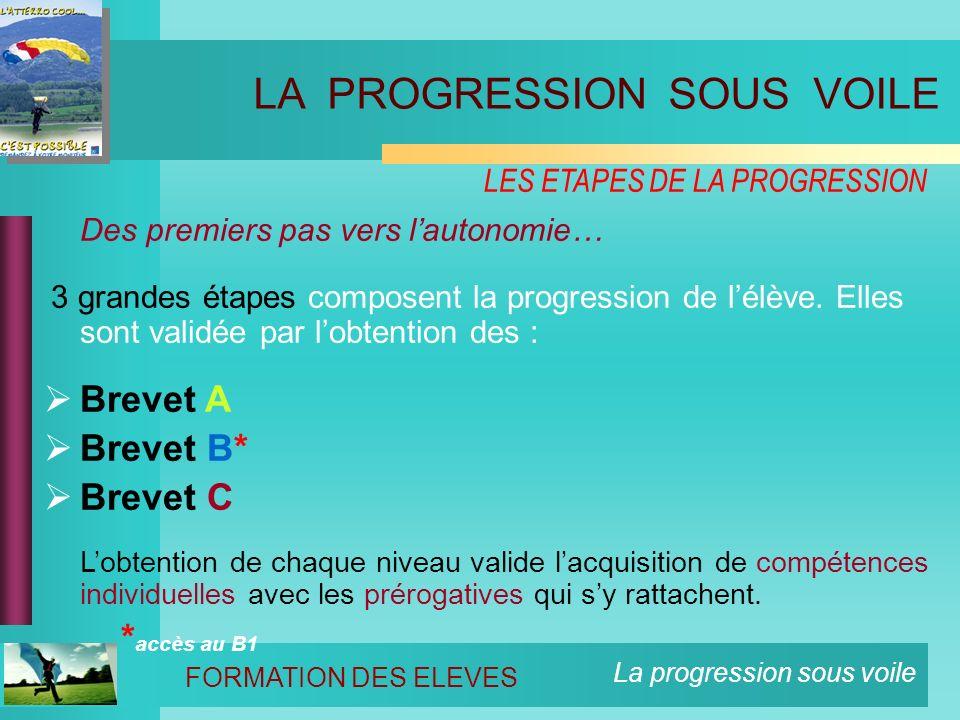 La progression sous voile LES ETAPES DE LA PROGRESSION Des premiers pas vers lautonomie… 3 grandes étapes composent la progression de lélève.