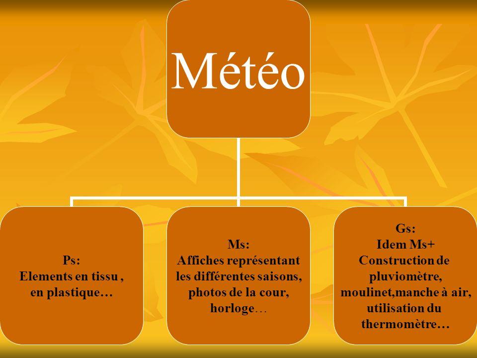 Météo Ps: Elements en tissu, en plastique… Ms: Affiches représentant les différentes saisons, photos de la cour, horloge… Gs: Idem Ms+ Construction de