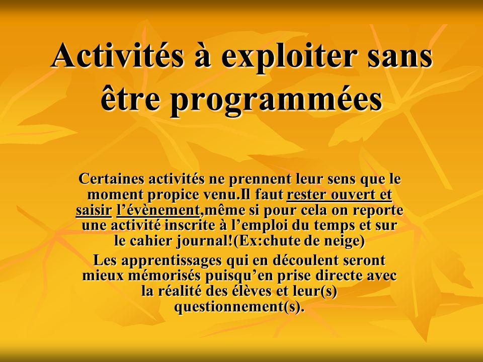 Activités à exploiter sans être programmées Certaines activités ne prennent leur sens que le moment propice venu.Il faut rester ouvert et saisir lévèn