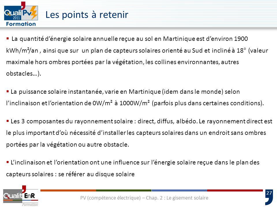 27 La quantité dénergie solaire annuelle reçue au sol en Martinique est denviron 1900 kWh/m²/an, ainsi que sur un plan de capteurs solaires orienté au