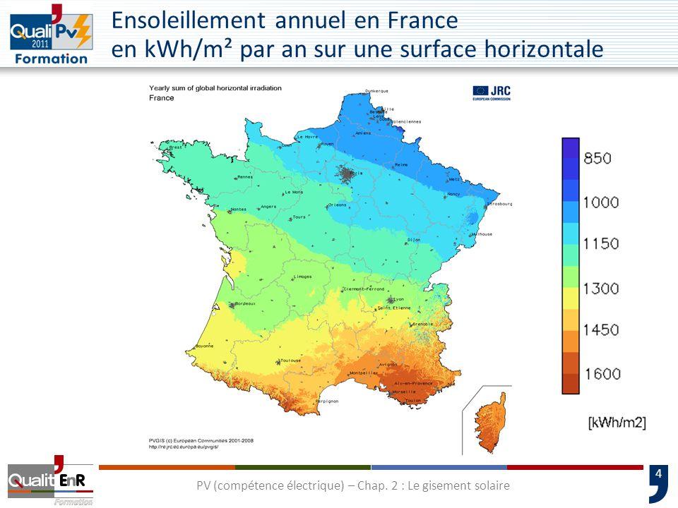 4 Ensoleillement annuel en France en kWh/m² par an sur une surface horizontale PV (compétence électrique) – Chap. 2 : Le gisement solaire