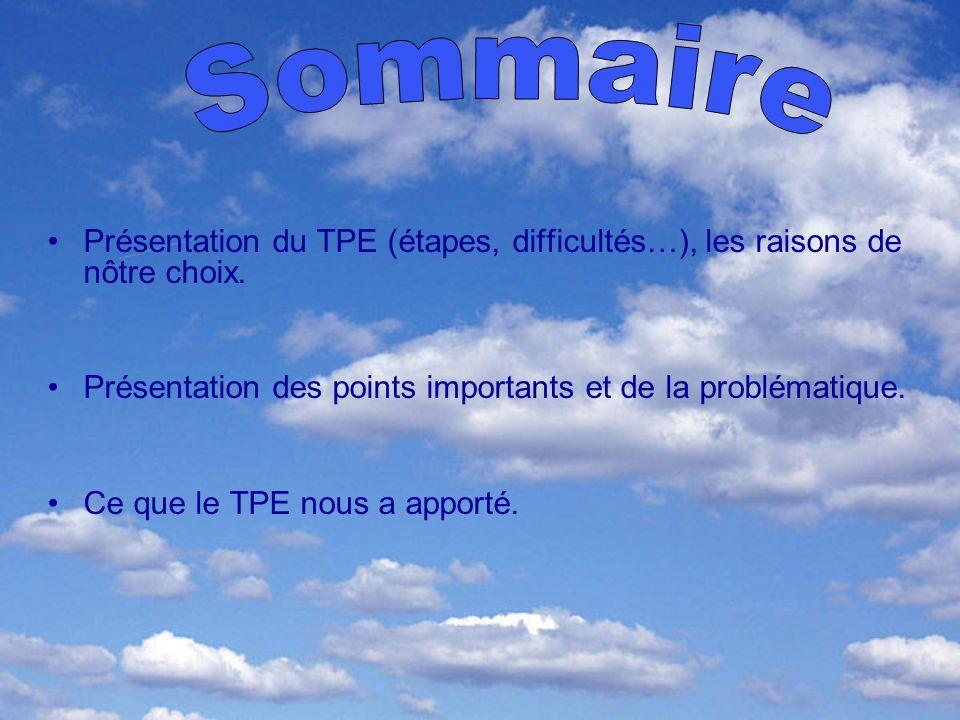 Présentation du TPE (étapes, difficultés…), les raisons de nôtre choix. Présentation des points importants et de la problématique. Ce que le TPE nous