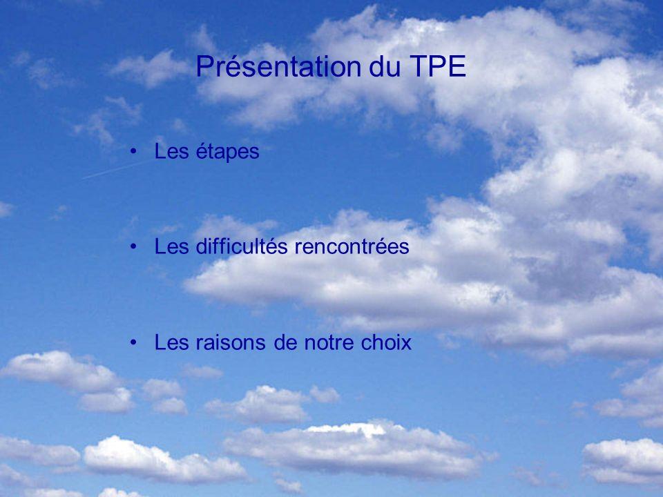 Présentation du TPE Les étapes Les difficultés rencontrées Les raisons de notre choix