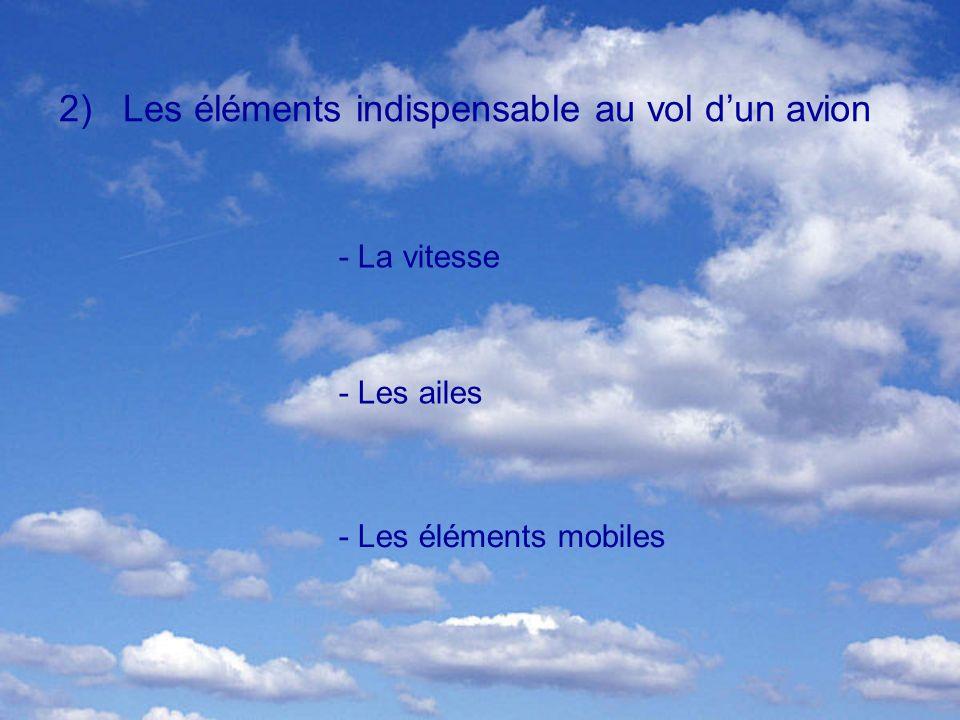 2)Les éléments indispensable au vol dun avion - La vitesse - Les ailes - Les éléments mobiles