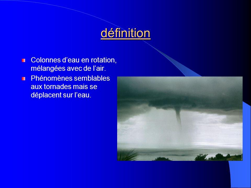 définition Colonnes deau en rotation, mélangées avec de lair. Phénomènes semblables aux tornades mais se déplacent sur leau.