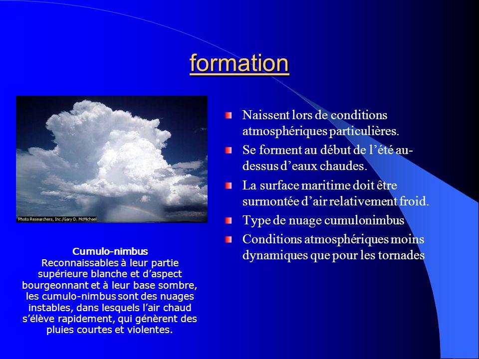 formation Naissent lors de conditions atmosphériques particulières. Se forment au début de lété au- dessus deaux chaudes. La surface maritime doit êtr
