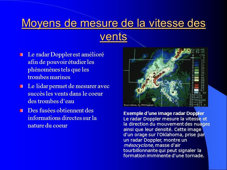 Moyens de mesure de la vitesse des vents Le radar Doppler est amélioré afin de pouvoir étudier les phénomènes tels que les trombes marines Le lidar pe