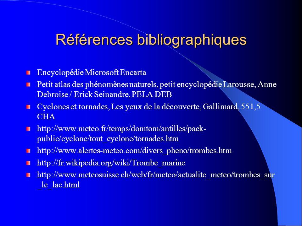 Références bibliographiques Encyclopédie Microsoft Encarta Petit atlas des phénomènes naturels, petit encyclopédie Larousse, Anne Debroise / Erick Sei