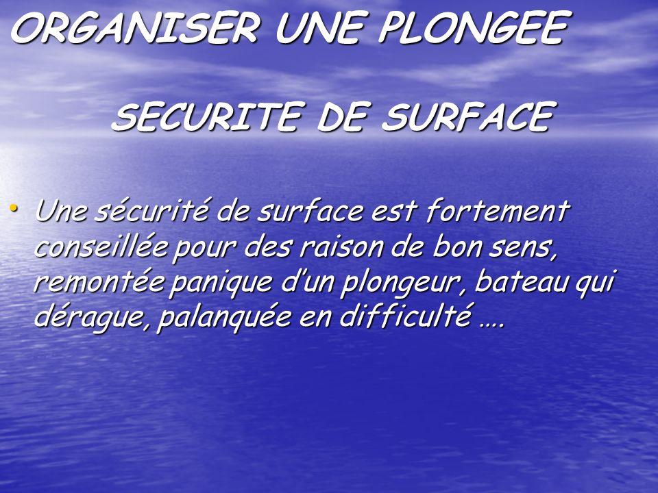 ORGANISER UNE PLONGEE Une sécurité de surface est fortement conseillée pour des raison de bon sens, remontée panique dun plongeur, bateau qui dérague, palanquée en difficulté ….