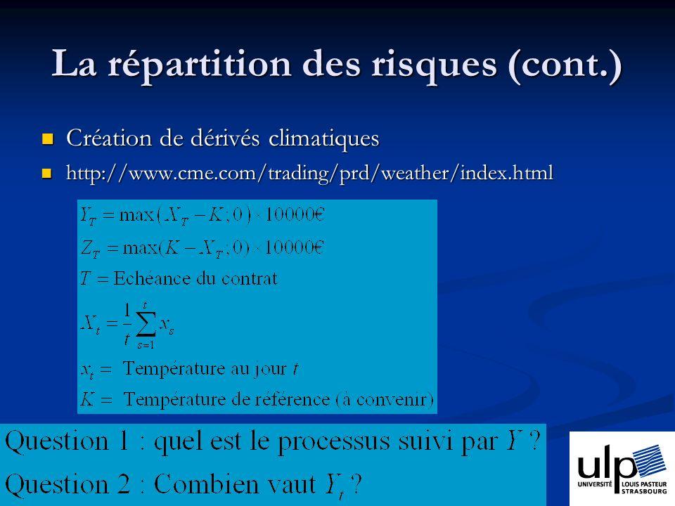 La répartition des risques (cont.) Création de dérivés climatiques Création de dérivés climatiques http://www.cme.com/trading/prd/weather/index.html http://www.cme.com/trading/prd/weather/index.html