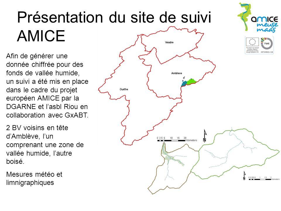 Présentation du site de suivi AMICE Afin de générer une donnée chiffrée pour des fonds de vallée humide, un suivi a été mis en place dans le cadre du projet européen AMICE par la DGARNE et lasbl Riou en collaboration avec GxABT.