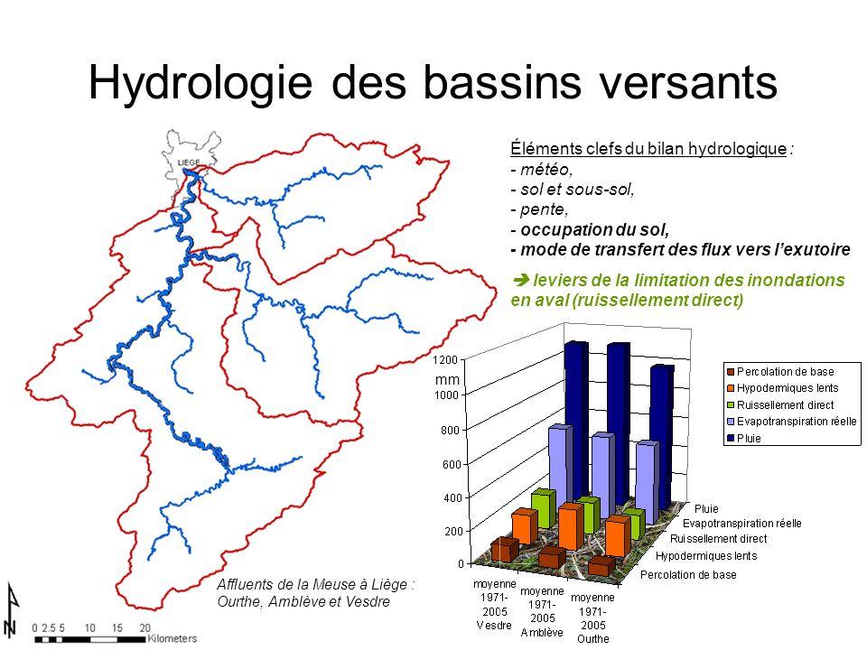 Hydrologie des bassins versants mm Affluents de la Meuse à Liège : Ourthe, Amblève et Vesdre Éléments clefs du bilan hydrologique : - météo, - sol et sous-sol, - pente, - occupation du sol, - mode de transfert des flux vers lexutoire leviers de la limitation des inondations en aval (ruissellement direct)