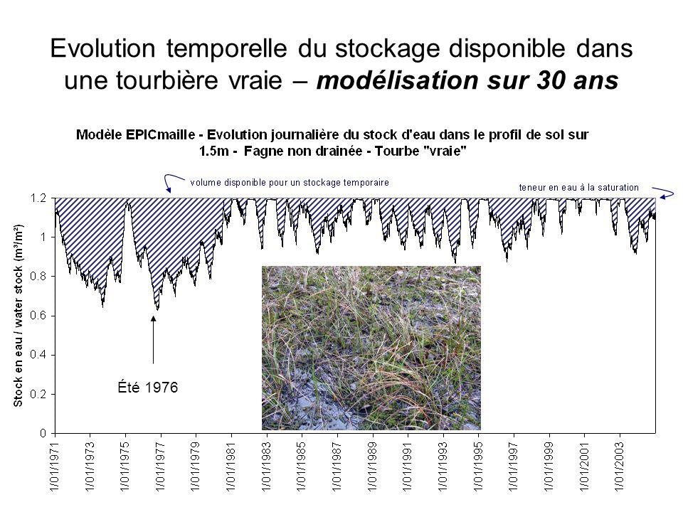 Evolution temporelle du stockage disponible dans une tourbière vraie – modélisation sur 30 ans Été 1976