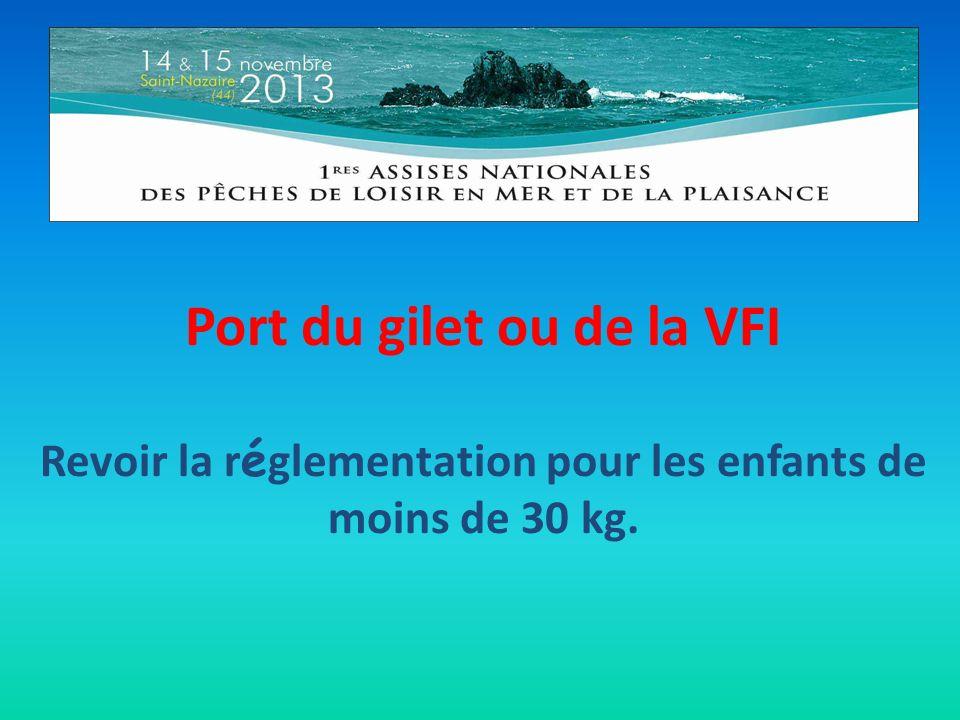Port du gilet ou de la VFI Revoir la r é glementation pour les enfants de moins de 30 kg.
