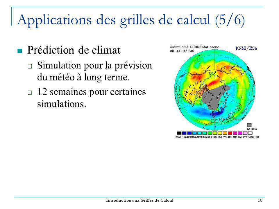 Introduction aux Grilles de Calcul 10 Applications des grilles de calcul (5/6) Prédiction de climat Simulation pour la prévision du météo à long terme