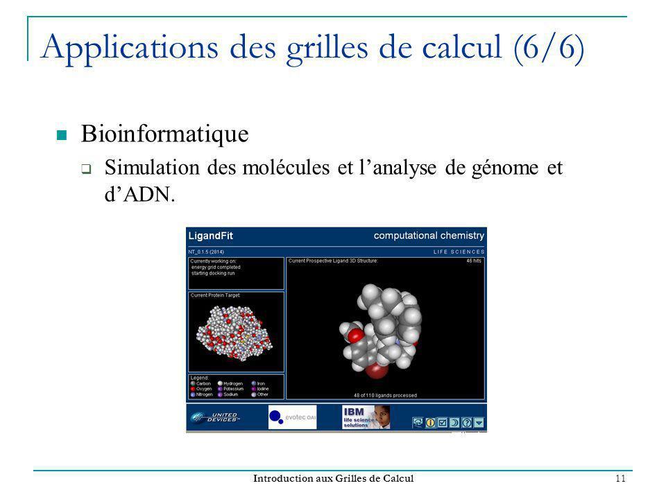 Introduction aux Grilles de Calcul 11 Applications des grilles de calcul (6/6) Bioinformatique Simulation des molécules et lanalyse de génome et dADN.