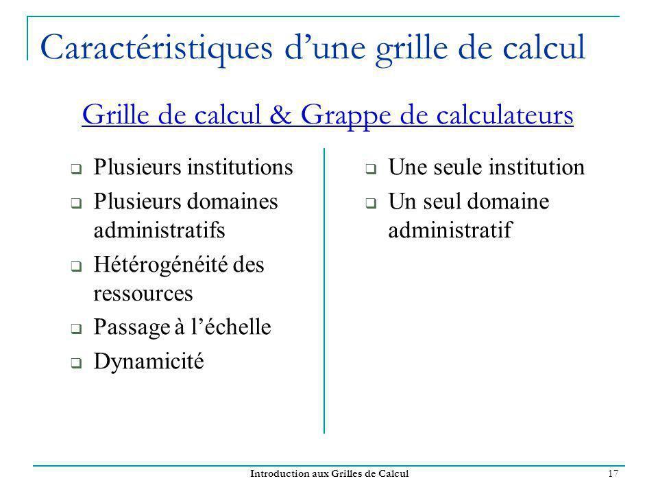 Introduction aux Grilles de Calcul 17 Caractéristiques dune grille de calcul Plusieurs institutions Plusieurs domaines administratifs Hétérogénéité de