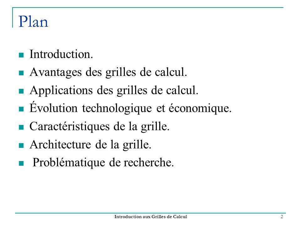 Introduction aux Grilles de Calcul 2 Plan Introduction. Avantages des grilles de calcul. Applications des grilles de calcul. Évolution technologique e