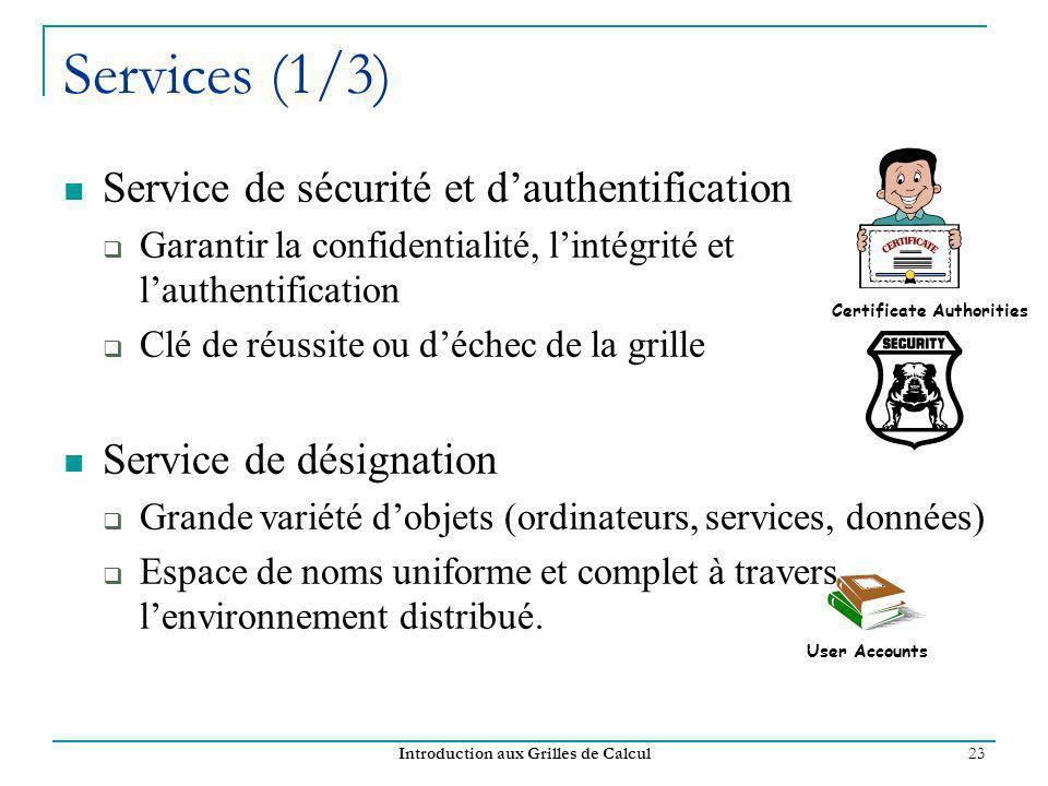 Introduction aux Grilles de Calcul 23 Services (1/3) Service de sécurité et dauthentification Garantir la confidentialité, lintégrité et lauthentifica