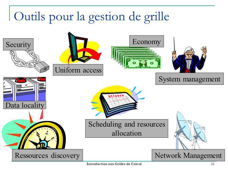 Introduction aux Grilles de Calcul 26 Outils pour la gestion de grille Security Scheduling and resources allocation Data locality Network Management S