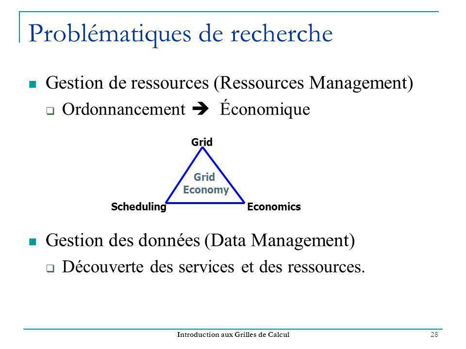 Introduction aux Grilles de Calcul 28 Problématiques de recherche Gestion de ressources (Ressources Management) Ordonnancement Économique Gestion des données (Data Management) Découverte des services et des ressources.