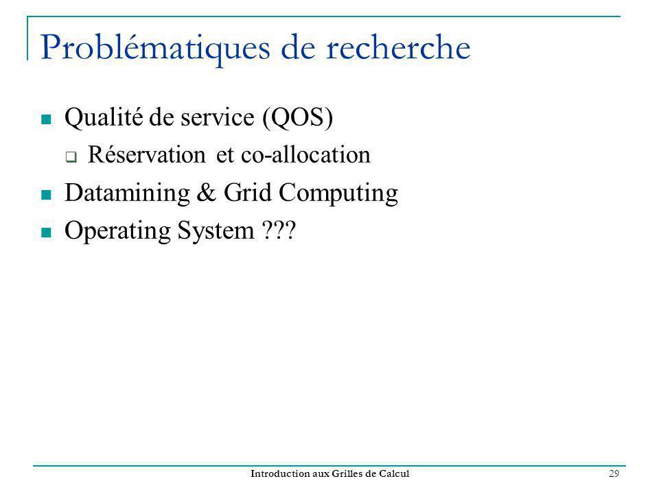 Introduction aux Grilles de Calcul 29 Problématiques de recherche Qualité de service (QOS) Réservation et co-allocation Datamining & Grid Computing Op