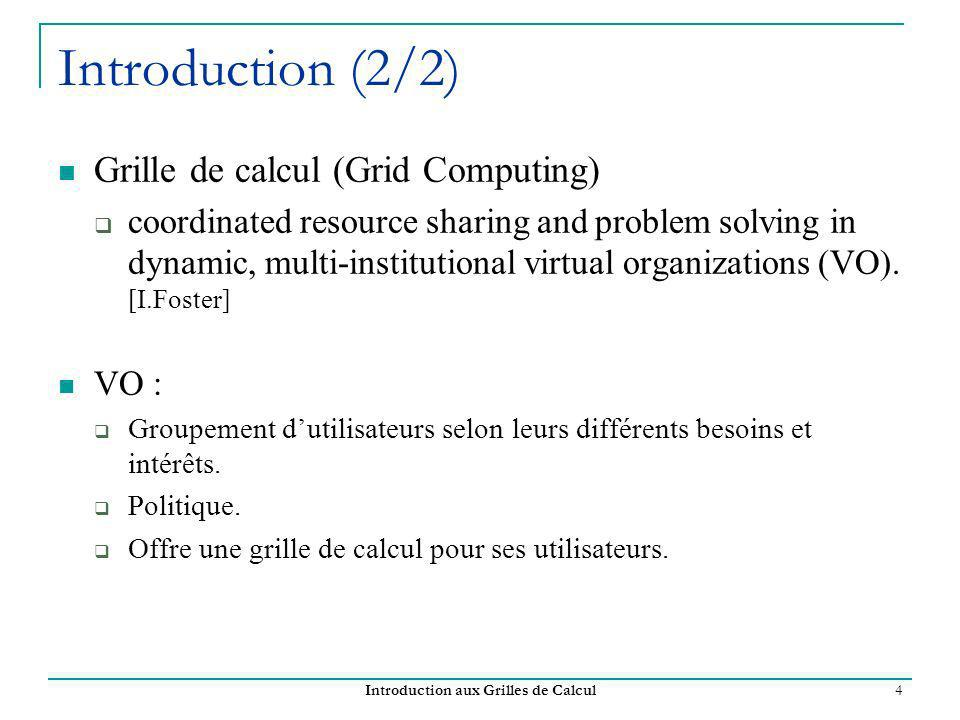 Introduction aux Grilles de Calcul 4 Introduction (2/2) Grille de calcul (Grid Computing) coordinated resource sharing and problem solving in dynamic,