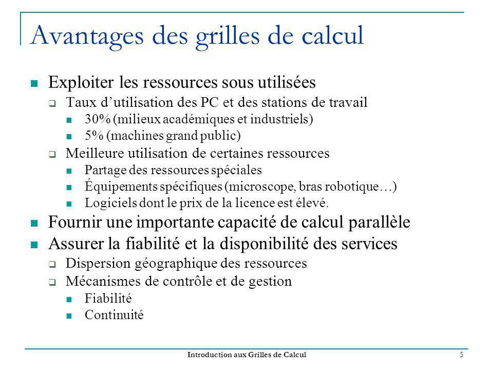 Introduction aux Grilles de Calcul 16 Caractéristiques des grilles de calcul Les principales caractéristiques des grilles de calcul: Existence de plusieurs domaines administratifs Distribution géographique des ressources.
